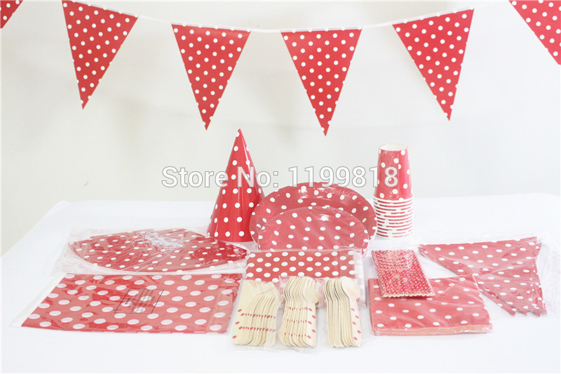 Paper Cups Bags Plates Straws Paper Napkins Flags Hats Plastic Tablecloth Wooden Utensil Red Polka Dot for Party Decorations-in Event u0026 Party from Home ...  sc 1 st  AliExpress.com & Paper Cups Bags Plates Straws Paper Napkins Flags Hats Plastic ...