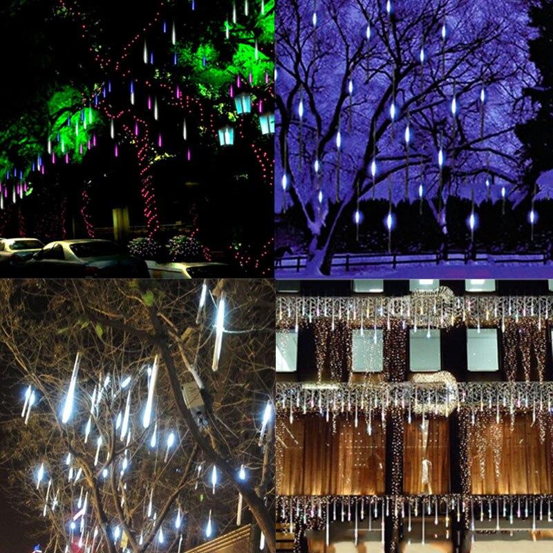50 см 220 В Светодиодные лампы метеоритный дождь трубы Рождество огни открытый праздник света Новый год Декор ali88