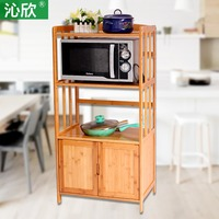 Qin Yan bamboo shelf microwave oven shelf with door compartment lockers wood kitchen storage rack multifunction oven