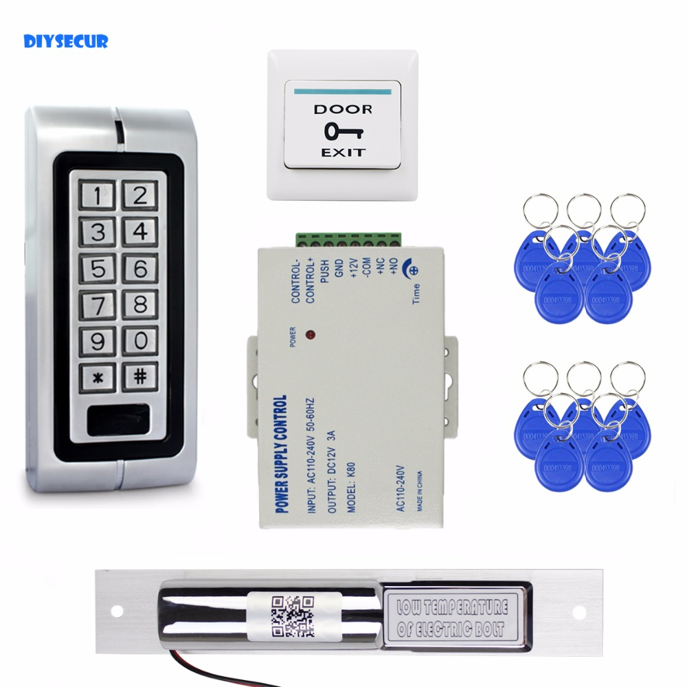 DIYSECUR Electric Drop Bolt Lock 125KHz RFID Waterproof Metal Password Keypad ID Card Reader Door Access Control System Kit W1 diysecur electric lock waterproof 125khz rfid reader password keypad door access control security system door lock kit w4