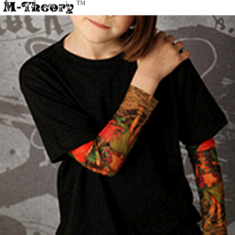 M-theory 1pcs Kid Size Sleeve Arm Stockings Leggings 3D Biker Rocker Henna Tattoos Tempo ...