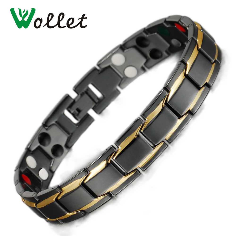 Wollet Jewelry Magnetic Bracelets Bangles for Men Black 5 in 1 Magnets Infrared Negative Ion Tourmaline Germanium
