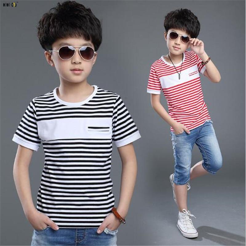 Boy T Shirt Casual Striped Short Sleeve Cotton Teenager ...