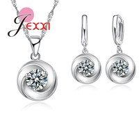 JEXXI New Arriveal Swirl Design Women/Girls 925 Sterling Silver Jewelry Sets Austrian Crystal Shiny Necklace/Earrings Set