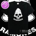 Ramones alta calidad Cráneo punk rock n roll 100% algodón multicolor ocasional floja impresión camiseta de la camiseta del vestido de camiseta