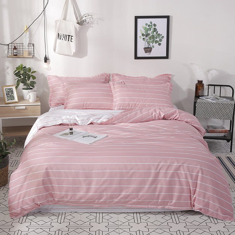 simple cute pink stripes bedding sets linens Twin/Single/Double/Queen Size duvet cover+bedsheet+pillowcases girls bedclothes