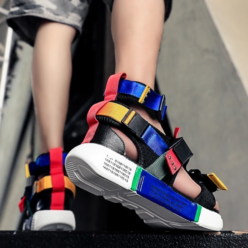 Outdoor Sandals Shoes 2019 Summer Super High Quality Male Sports Shoes Wedge Chunky Sandals Gladiator Fashion High Top Sneakers