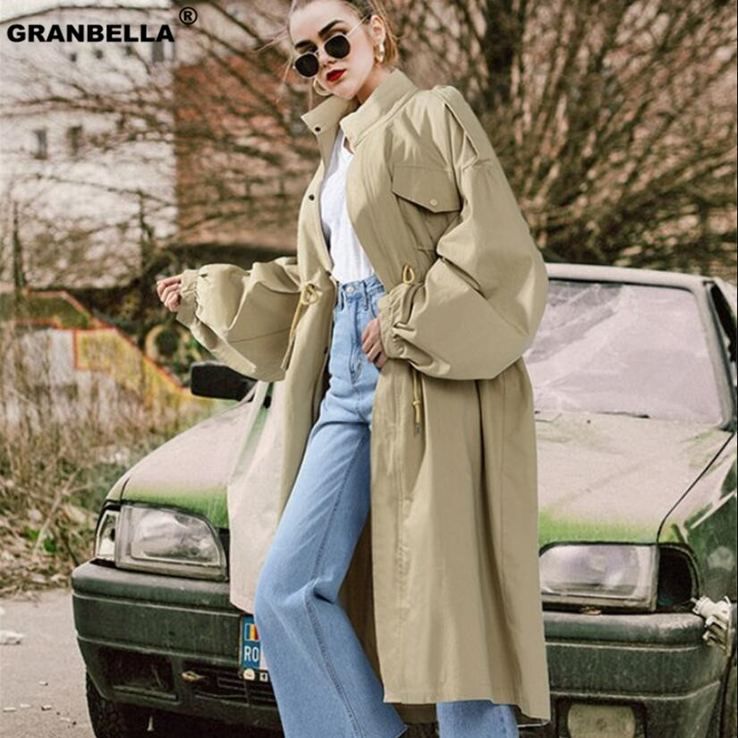 2019 Autumn European Style Plus Size Female Outerwear Women   Trench   Coat Loose Drawstring Long Windbreaker Brand Clothing