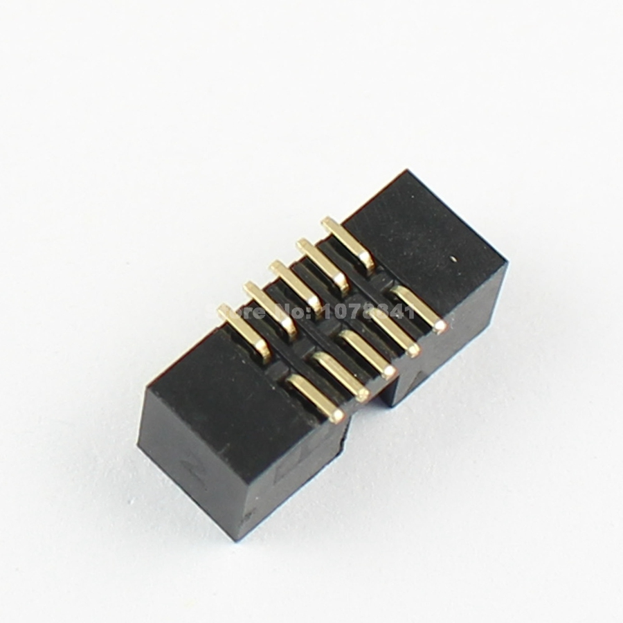 10 Pcs Per Lot 1.27mm 2x5 Pin 10 Pin Male SMT Shrouded PCB Box Header IDC Connector