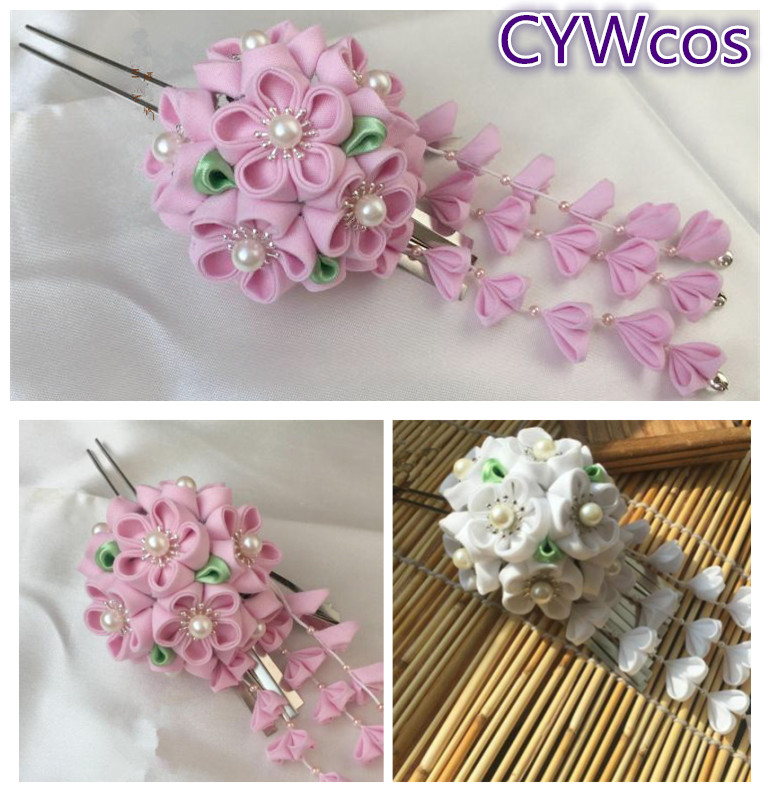 Buy Handmade Cloth Flower Headdress White and Pink Kimono Headwear Classic Tassels Hairpin Female DIY Hair Accessories Hairclip for only 35.95 USD