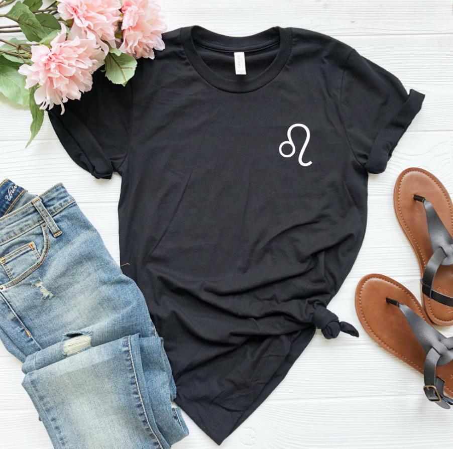 Leo Zodiac Print Women Tshirt Casual Cotton Hipster Funny T-shirt For Lady Yong Girl Top Tee Drop Ship ZY-220