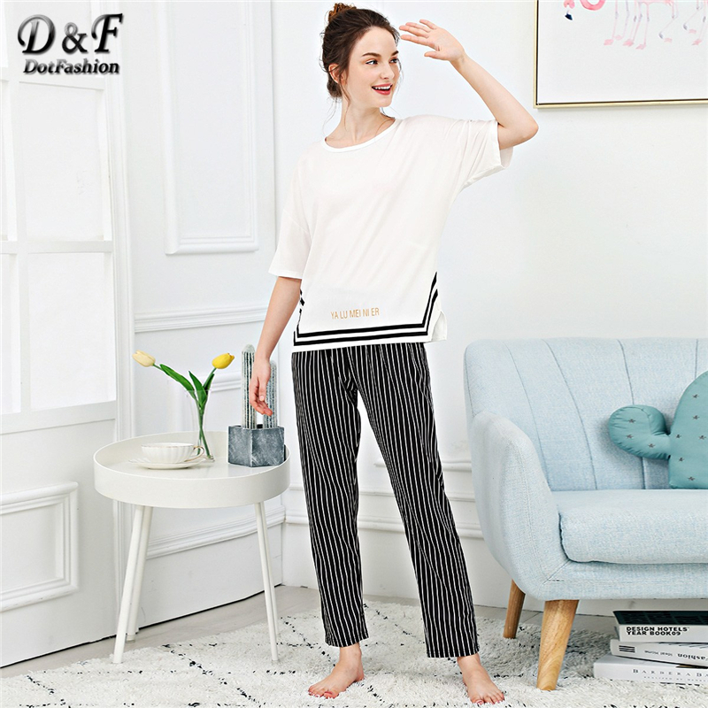 Dotfashion Letter Print Split Side Striped   Pajama     Set   Women Clothing Autumn Casual Black And White Summer Short Sleeve Nightwear