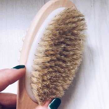 35cm 2-in-1 Sided Natural Bristles Brush Scrubber Long Handle Wooden SPA Shower Brush Bath Body Massage Brushes Back Easy Clean 3