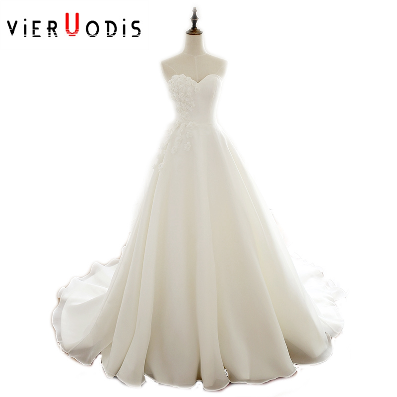 Strapless Simple Casamento A Line White Ivory Vestido De Noiva 2019 Beach Wedding Dresses Court Train Weeding Dress