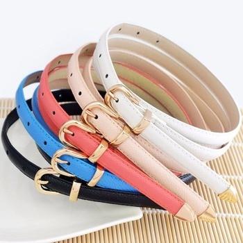 Fashion Women Lady Girls Genuine Leather Thin Belt in Candy Color Skinny Waist Belt Buckle Narrow Waistband
