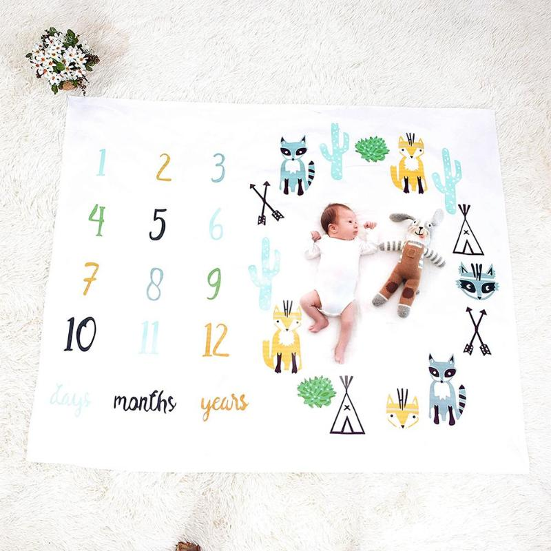 Monthyly Printed Baby Blankets Swaddle Wrap Soft Blanket Age Tracker 2019