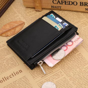 Genuine Leather Mini Mens Wallets Famous Brand Man Purses Clutch With Credit Card Holders Zipper Coin Pocket Free shipping