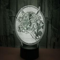 Nowy bydła 3d lampy kolorowe dotykowy i zdalnego sterowania 3d światła prezent kreatywny dostosowanie 3D małe biurko lampa