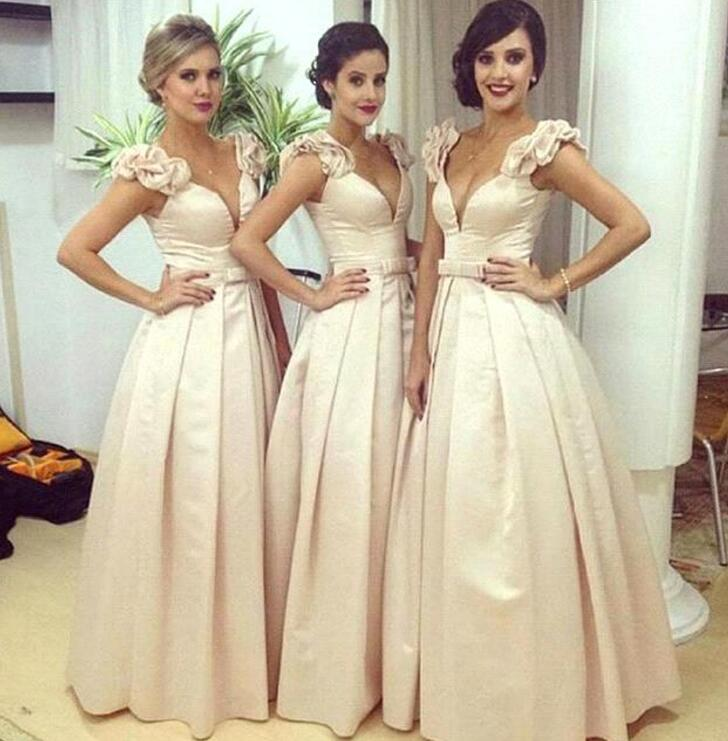 2017 Sexy V Neck Ball Gown Bridesmaid Dresses Long Party Dress Bow