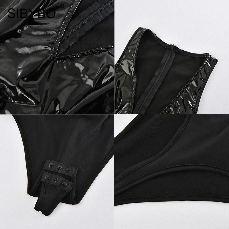USA Women V Neck PVC PU Skinny Sleeveless Patchwork Beach Casual Bodysuits