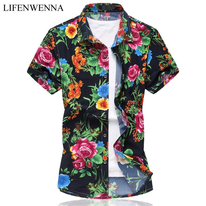 2019 팬시 짧은 소매 셔츠 남자 여름 패션 캐주얼 플러스 크기 망 꽃 셔츠 고품질의 꽃 셔츠 망 사회 6XL