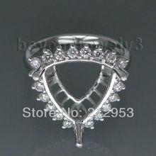 Trillion 12mm 18kt White Gold  Semi mount Wedding Ring for Wedding Rings Jewelry SR291
