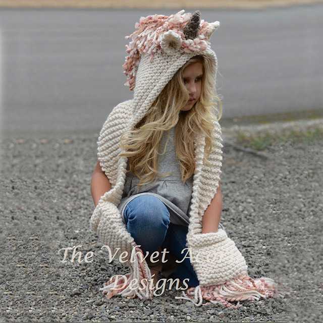 Unicorn Hooded Knitted Scarf