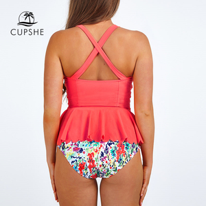 CUPSHE Dasiy Does It High-waisted Falbala Bikini Set Women Cross Ruffle Halter Swimwear 2020 Beach Bathing Suit Swimsuits