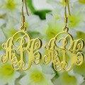 Nome personalizado Vine Monograma Brincos de Ouro Brincos de Cortar Qualquer Brincos Jóias Monogrammed Iniciais até 3 Letras