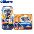 Original gillette fusion proglide poder flexball 1 alça + 9 lâmina de barbear lâminas de barbear elétrico para homens de barba barbeador