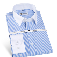 Men's Stylish Slim Fit Long Sleeve Striped Dress Shirt with Contrasting Collar and Cuffs Male Formal Business Office Shirts