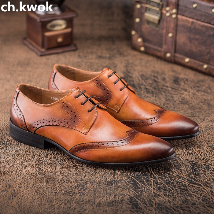 CH.KWOK mens business dress shoes genuine leather pointed toe mens wedding shoes lace up carved england male suits oxfords shoes hot sale mens genuine leather cow lace up male formal shoes dress shoes pointed toe footwear multi color plus size 37 44 yellow
