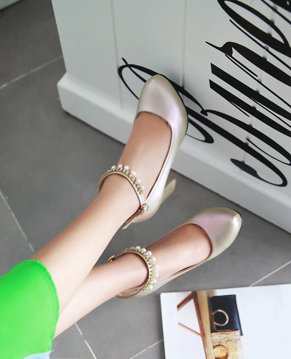2017 Chunky High Heeled Pink Bridal Wedding Shoes Beaded White Female Buckle Elegant Pumps Silver Gold36