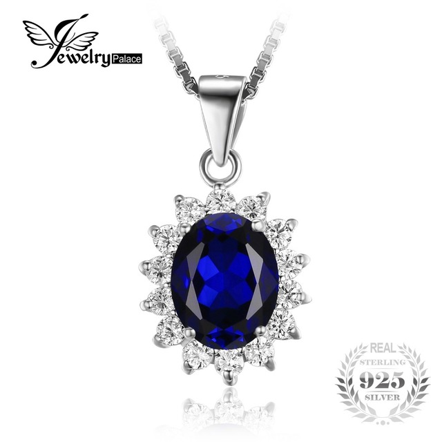 JewelryPalace Oval 3.2ct Princess Diana William Pendant Blue Created Sapphire Pendant 925 Sterling Silver Jewelry Brand New Gift