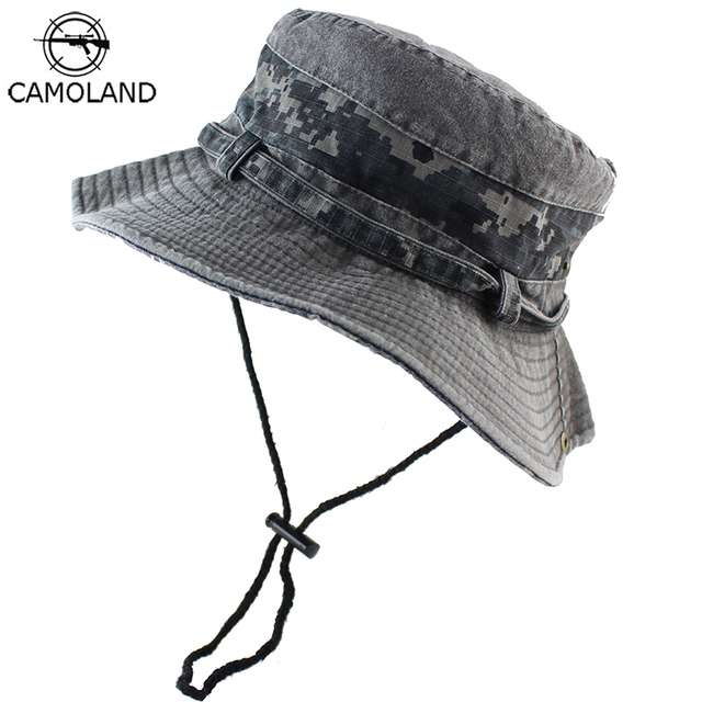 6897dae1594 100% Cotton Sun Hat Bucket Summer Men Women Fishing Boonie Tactical Military  Army ACU Camouflage