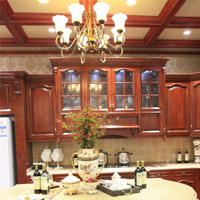 US $5000.0 |rubber wood kitchen cabinet Foshan furniture factory high  quality cherry wood kitchen cabinets-in Kitchen Cabinets from Home  Improvement ...