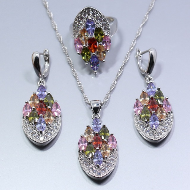 52900c77af39 AAA+ Quality 925 Sterling Silver Multicolor Zircon Earring Chain Necklace  Pendant Ring Women Jewelry Set Free Gift Box T300