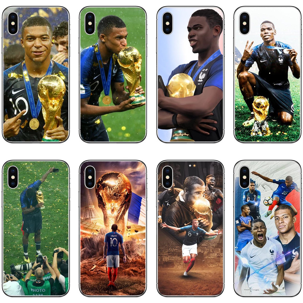 4ec260e009c France Football Star Kylian Mbappe Griezmann pogba Clear Hard PC Phone Cases  For iPhone 7 7Plus 6 6SPlus 8 8 Plus X 10 5 5s SE