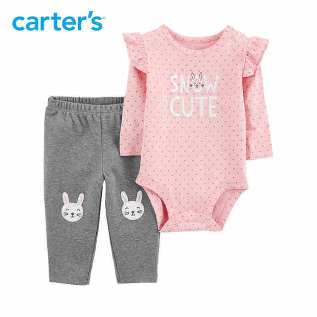 73daa8771 Carters Baby Girl 2-Piece Bunny Bodysuit Pant Set Pink long sleeve bodysuits  elastic waist pant newborn baby clothes 121I918