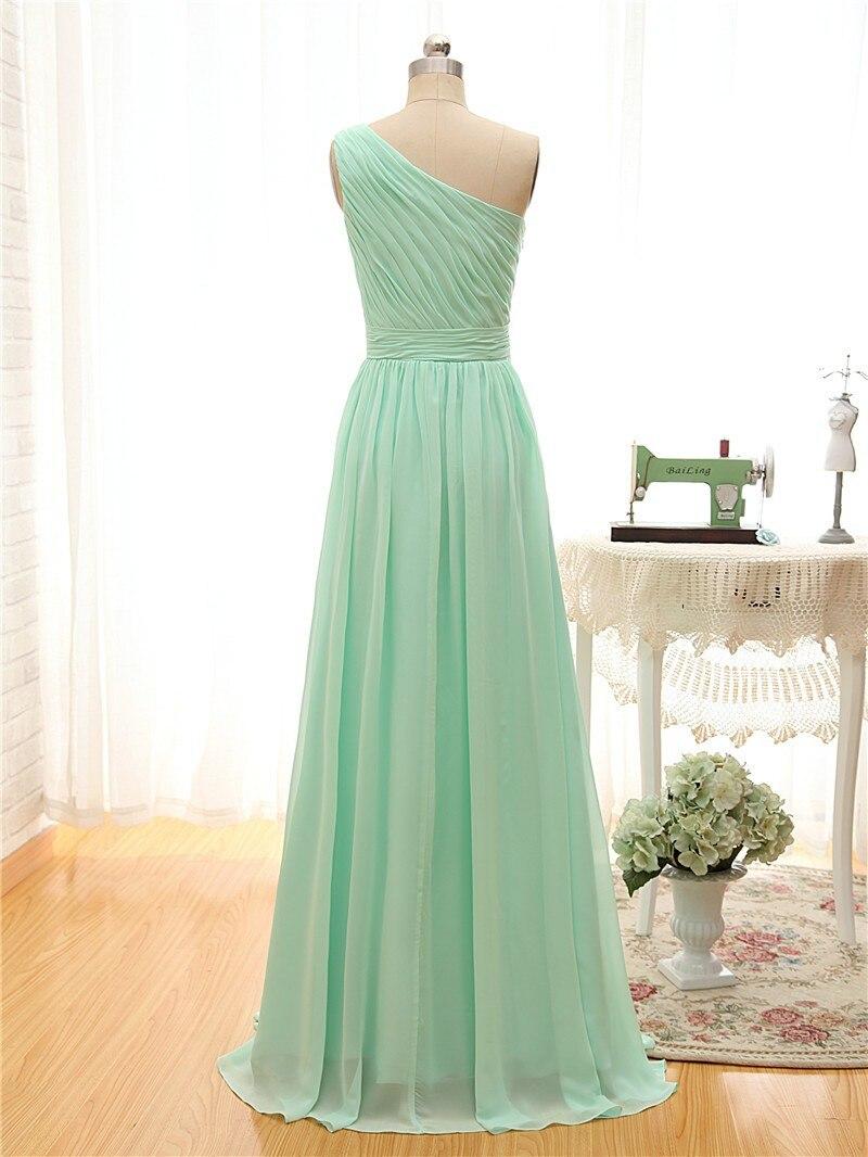 Une sangle longue robe de demoiselle d'honneur vert menthe mousseline de soie une ligne plissée robe de demoiselle d'honneur moins de 50 robe de soirée de mariage - 2