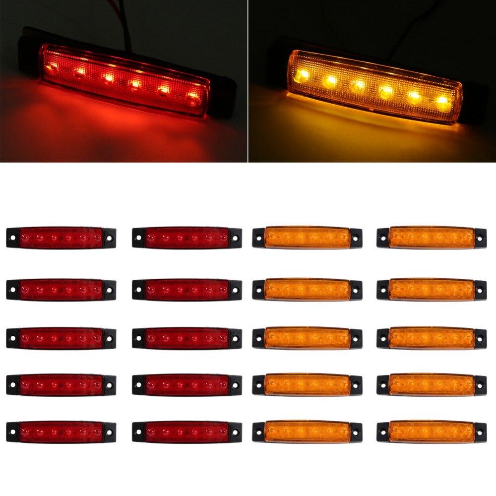 10X Red 6 LED Side Marker Indicator Lights Car Truck Trailer US Ship 10X Amber