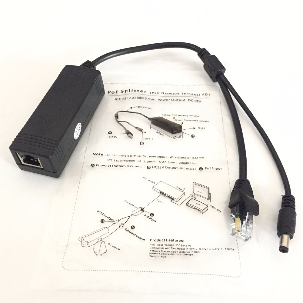 rj45 POE Splitter IEEE802.3at 25.5w DC 12V Power Output (poe network terminal pd) For h.264/h.265 1080P 4.0mp 5.0mp HD IP Camera цена и фото