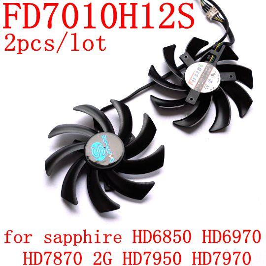 Doprava zdarma 2ks / dávka FD7010H12S 85mm pro safírový HD6850 HD6970 HD7870 2G HD7950 HD7970 grafický kartový ventilátor