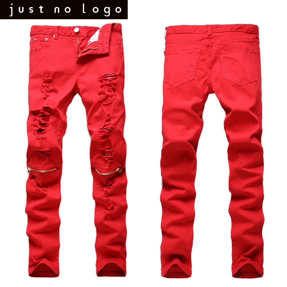 Mens Red White Black Knees Zipper Biker Denim Slim Fit Jeans Torned Skinny Straight Hip Hop Pants Long Summer Ripped Trousers mens casual elastic ripped drape denim hip hop slim fit distressed biker jeans pants black straight pencil trousers multi zipper