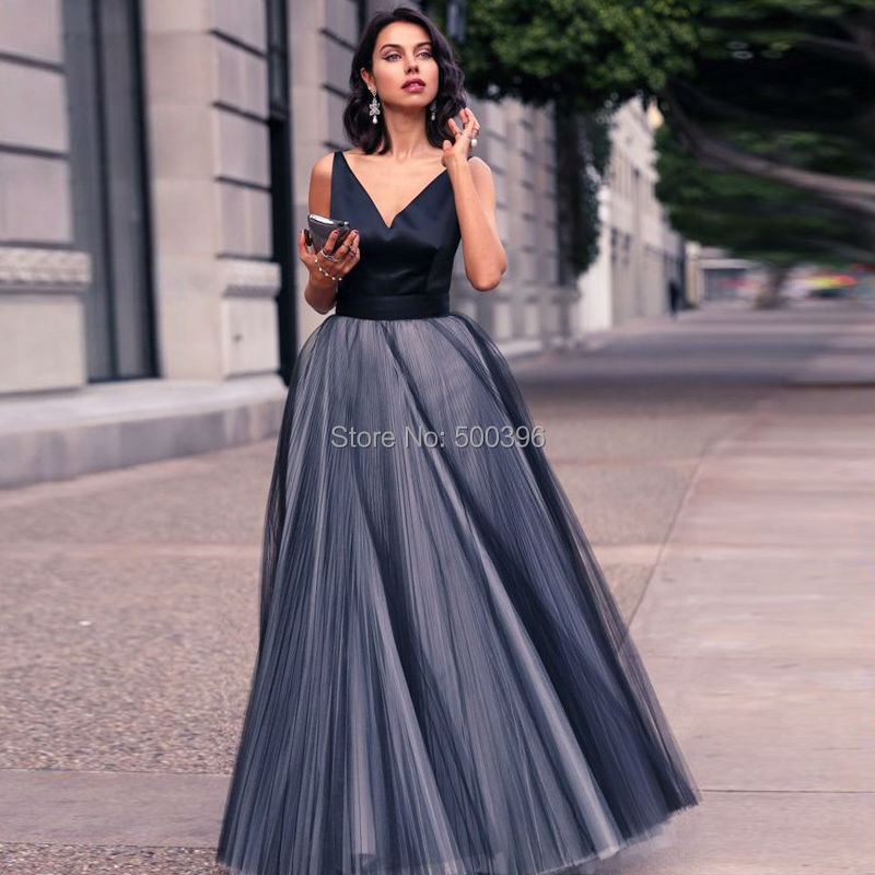 Tulle &Satin Concise V neck Prom Dresses 2016 A line Evening Gown ...