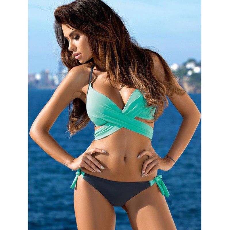 HTB1Vpq7cInI8KJjSspeq6AwIpXae Sporlike Push Up Bikini 2017 Cross Stripe Women Swimwear Swimsuit Halter Top Print Maillot De Bain Biquini Bathing Suits XXL