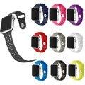 Pequeño agujero de goma correa de reloj de pulsera para apple serie 2 de silicona banda para apple watch iwatch primera y segunda 38mm 42mm m/l tamaño