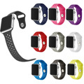Small Hole Rubber Wrist Watch Strap For Apple Series 2 Silicone Band For Apple Watch iWatch 1st & 2nd 38mm 42mm  M/L Size