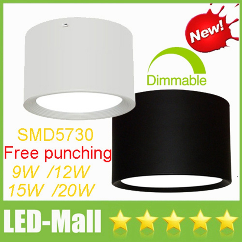 Free punching 9W 12W 15W 20W Surface Mounted LED Downlights Ceiling Display Clothing Store Dining Room Down Lights Lamp 110-240V