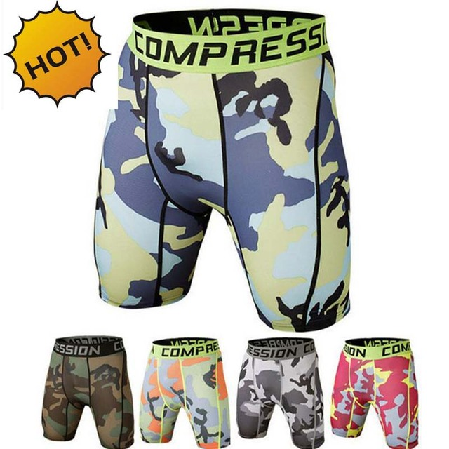High Quality 2016 Summer Men Stretch Lycra Base Layer Boxer Shorts Camouflage Quick Drying Compression Bodybuilding Leggings